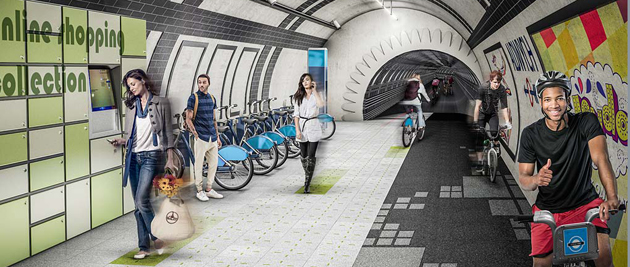 Architecture firm Gensler wants to transform London's disused underground tube tunnels into bike paths. (Photo credit: Gensler)